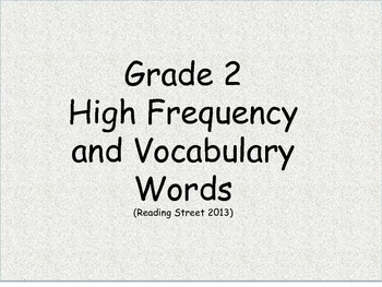 CC Grade 2 High Frequency/Vocab word cards for Reading Str