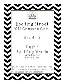 Reading Street 2013 Grade 3 Unit 2 Spelling Lists and Card