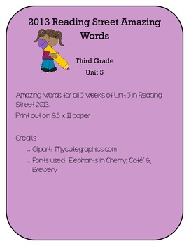 3rd Grade Reading Street 2013 Unit 5 Amazing Words