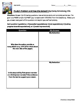 Reading Street 3rd Grade: Prudy's Problem [NO PREP Compreh