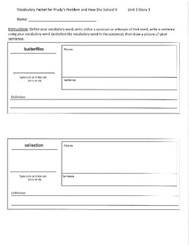 Reading Street 3rd Grade Prudy's Problem Vocabulary Packet