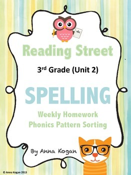 Reading Street 3rd Grade Spelling Homework