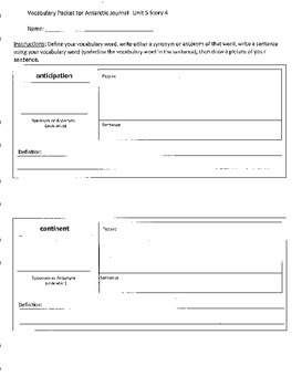 Reading Street 4th Grade Antarctic Journal Vocabulary Packet