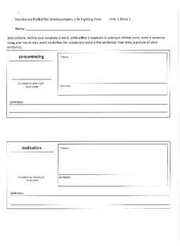 Reading Street 4th Grade Unit 5 Vocabulary Packets