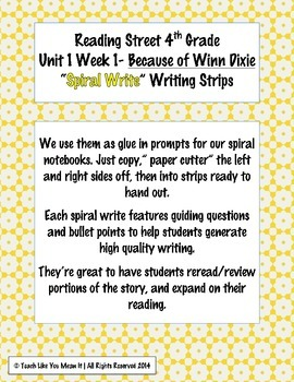 Reading Street 4th- Unit1 Week1 'Sprial Write' Strips for