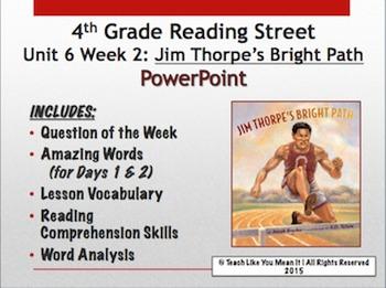 Reading Street 4th- Unit 6 Week 2 PowerPoint- Jim Thorpe's