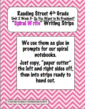 Reading Street 4th-Unit2Week5 'Sprial Write' Strips-So You