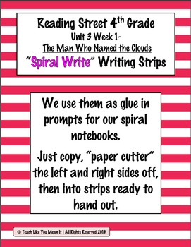 Reading Street 4th- Unit3 Week1 'Sprial Write' Strips for