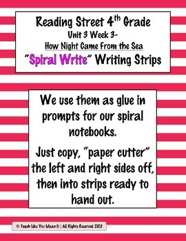 Reading Street 4th- Unit3 Week3 'Spiral Write' Strips for