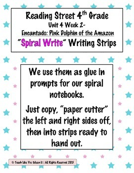 Reading Street 4th- Unit4 Week2 'Spiral Write' Strips for