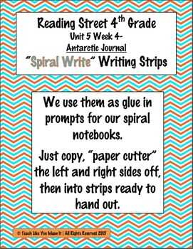 Reading Street 4th- Unit5 Week4 'Spiral Write' Strips for