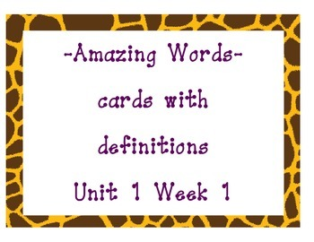 Reading Street Amazing Words Cards and Definitions-Grade 3