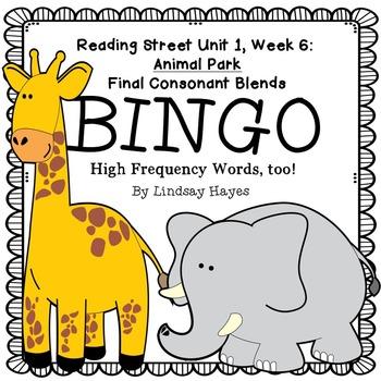 Reading Street: Animal Park BINGO Final Consonant Blends