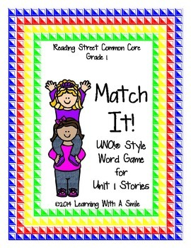 Reading Street Common Core Match It! Word Game ~ Similar t