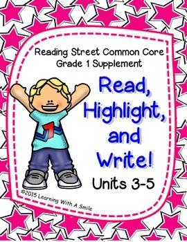 Reading Street FIRST GRADE Spelling (Units 3-5)  READ, HIG