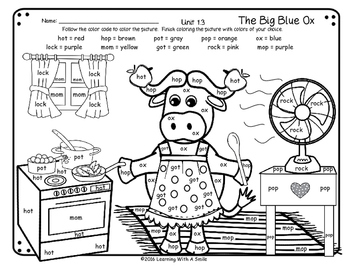 Reading Street First Grade FREE The Big Blue Ox COLOR BY W