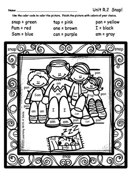 Reading Street FREEBIE First Grade Unit R.2 Snap!  COLOR BY WORD