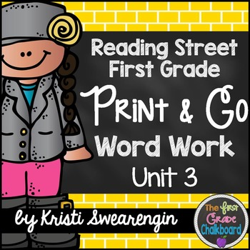 Reading Street First Grade Print and Go Word Work Centers Unit 3