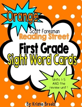 Reading Street First Grade Sight Word Cards in Orange (201