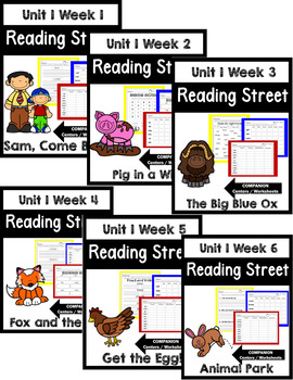 Reading Street. First Grade. Unit 1 Bundle Centers/Worksheets