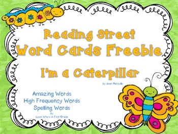 """Reading Street First Grade Word Cards FREEBIE  """"I'm a Cate"""