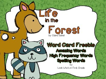 """Reading Street First Grade Word Cards FREEBIE  """"Life in th"""