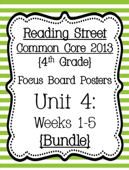 Reading Street Focus Board Posters: 4th Grade Unit 4 Weeks