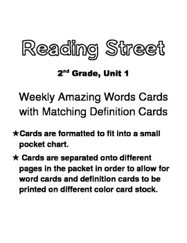 Reading Street, Grade 2, Unit 1 Weekly Amazing Words Word