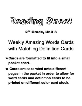 Reading Street, Grade 2, Unit 3 Amazing Words Cards w/ Def