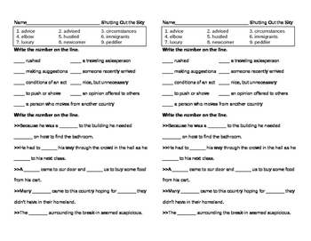 Reading Street Grade 5 - Shutting Out the Sky Vocabulary Pretest