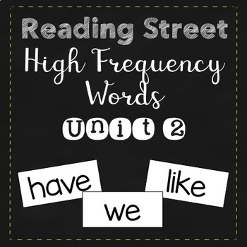 Reading Street High Frequency Words Unit 2