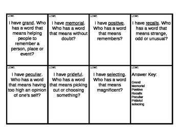 Reading Street I Have/Who Has Vocabulary Cards Unit 1