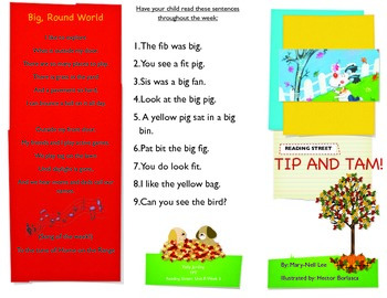 Reading Street- Informational trifold for Tip and Tam!