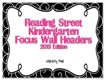 Reading Street Kindergarten Black and Pink Focus Wall Headers