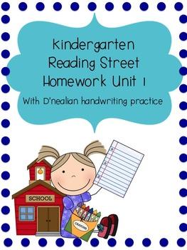 Reading Street Kindergarten Homework Unit 1 (D'nealian han