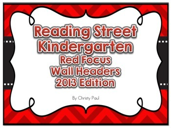 Reading Street Kindergarten Red Focus Wall Headers