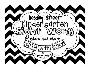 Reading Street Kindergarten Sight Words (Black and White)