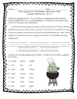 Reading Street: Unit 4 - Life Cycle of a Pumpkin Spelling