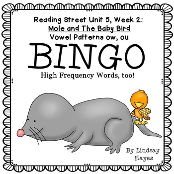 Reading Street: Mole and Baby Bird BINGO- Vowel Patterns ow, ou