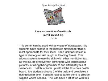 Reading Street: Newspaper Tasks Center