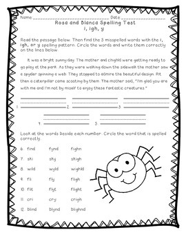 Reading Street: Unit 3 - Rosa and Blanca Spelling Test