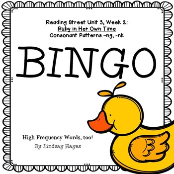Reading Street: Ruby in Her Own Time BINGO Consonant Patte