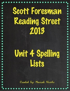 Reading Street Spelling Unit 4