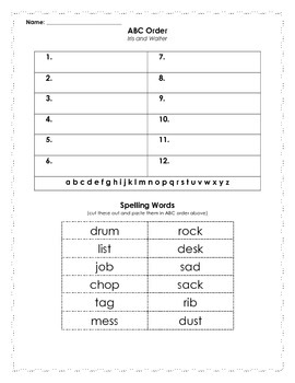 Reading Street Spelling Words ABC Order - 2nd grade