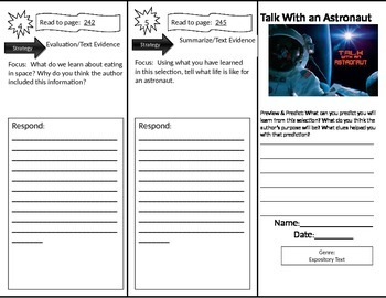 Reading Street: Talk With an Astronaut Trifold/Close Read