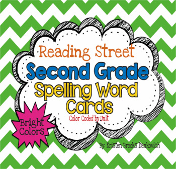 Reading Street Second Grade Spelling Word Cards (Bright)