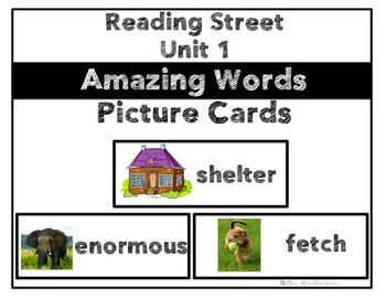 Reading Street Unit 1 Amazing Words Picture Cards- 1st Grade