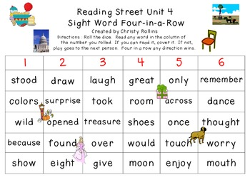 Reading Street Unit 4 Sight Word 4-in-a-row