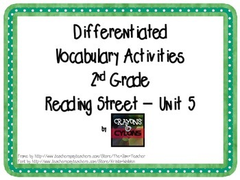 Reading Street Unit 5 Vocabulary Activities