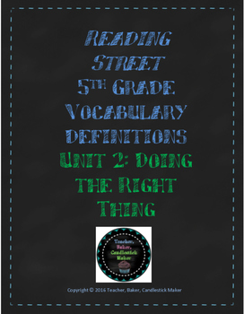 Reading Street Vocabulary Definitions - 5th Grade - Unit 2